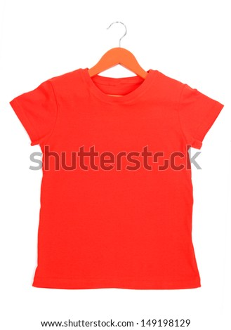 Red t-shirt on hanger isolated on white - stock photo
