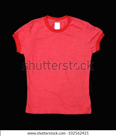 Red T-shirt with blank label isolated on black background - stock photo