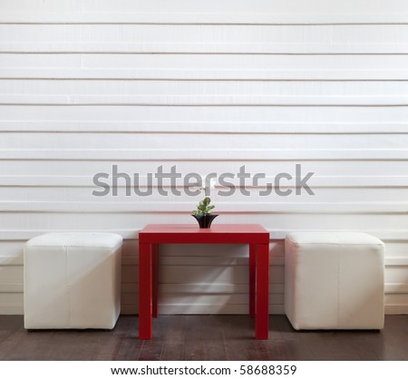 red table and white stools - stock photo