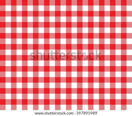 Red table cloth background seamless pattern.Illustration of traditional gingham dining cloth with fabric texture. Checkered picnic cooking tablecloth. - stock photo
