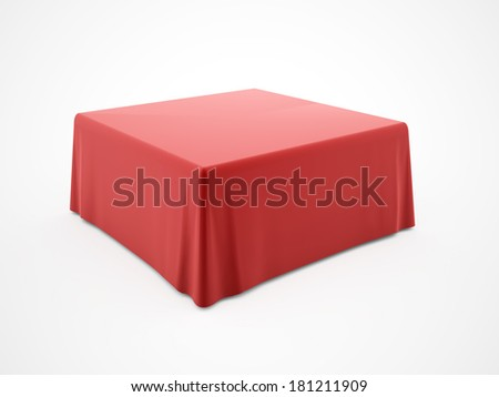 Red table cloth rendered on white background - stock photo