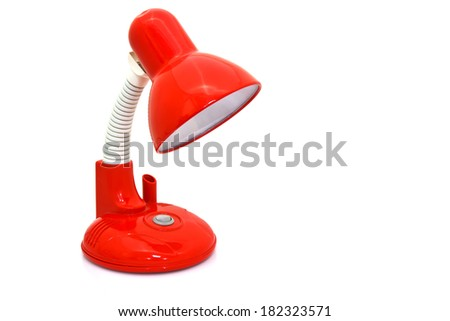 red table lamp isolated on white background