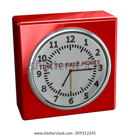 Red table watch with words time to make money, isolated on white background. 3D render. - stock photo