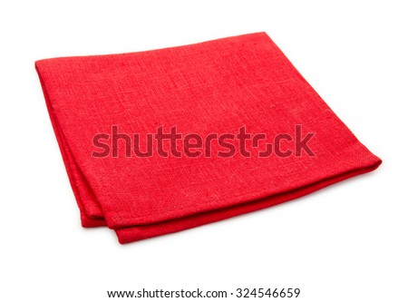 Red tablecloth isolated on white background with clipping path. - stock photo