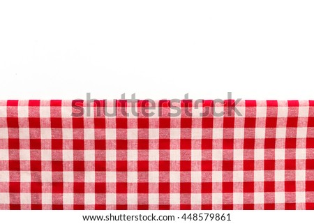 red tablecloth on white background - stock photo