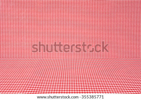 red tablecloth texture, background with copy space (The pattern on this fabric is common in Thailand and is not subjected to copyright) - stock photo