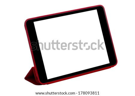 Red tablet computer (tablet pc) on white background - stock photo