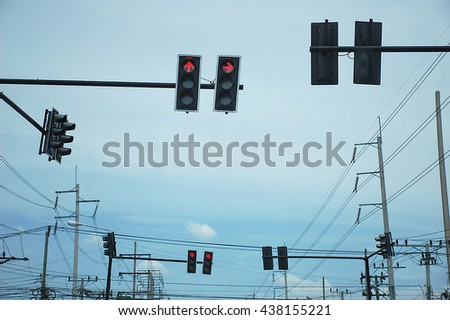 Red taffic light - stock photo