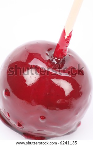 Red Taffy Apple with white background