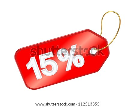 Red tag 15%.Isolated on white background.3d rendered. - stock photo