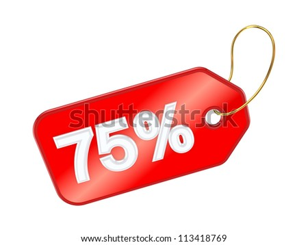 Red tag 75%.Isolated on white background.3d rendered. - stock photo