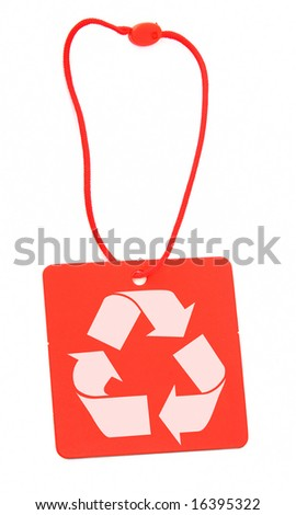 red tag with recycle symbol against white - stock photo