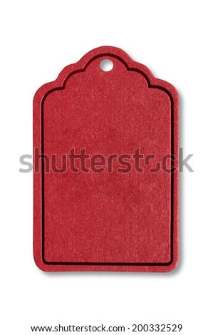 Red tags on white background. Background and texture. - stock photo