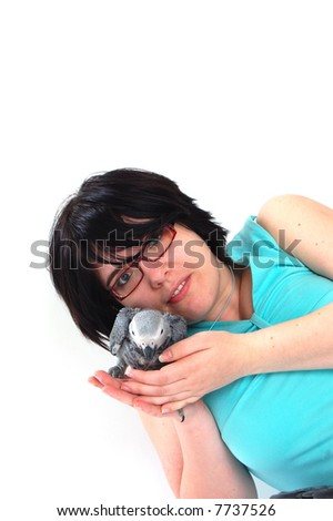 red tale parrot isolated on white with female - stock photo