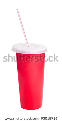 Red tall plastic glass with lid and straw isolated on white background