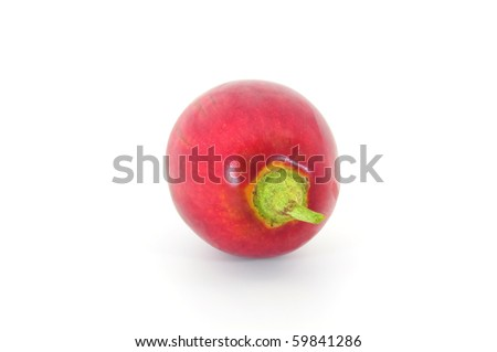 red tamarillo end view isolated on white