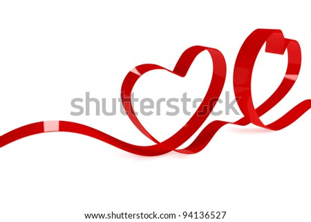 Red tape in the form of hearts on a white background
