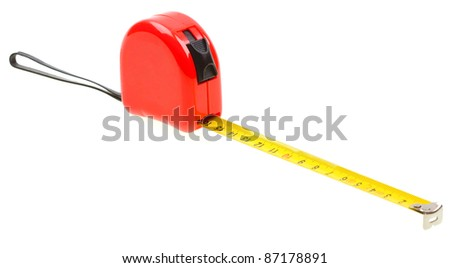 Red tape measure isolated on white background - stock photo