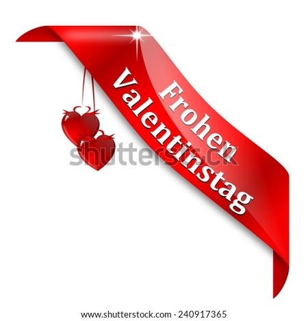 "Red tape with the words ""Happy valentines day"" in German - illustration - stock photo"
