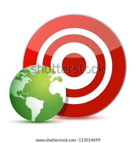 red target green globe illustration design over white - stock photo