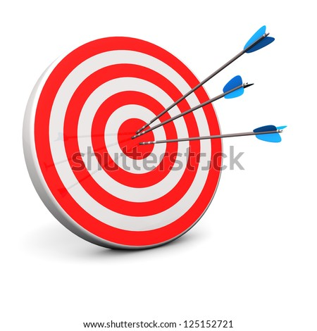 Red target with 3 arrows in the bullseye. - stock photo