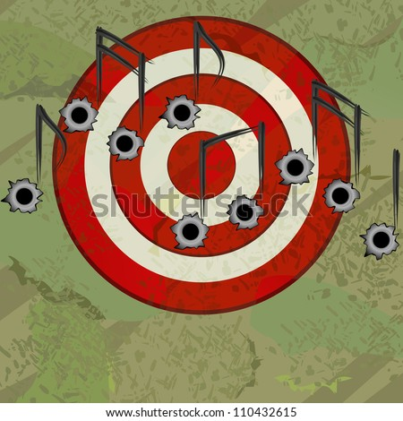 Red target with bullet holes as musical notes - stock photo