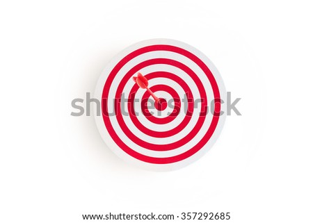 Red target with red arrow on goal on white background, business concept  - stock photo