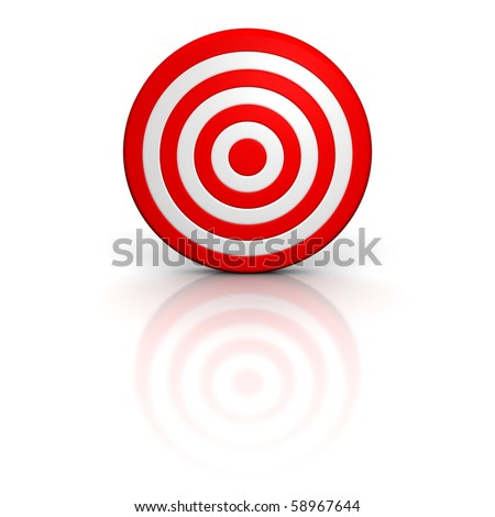 Red target with reflection. 3d rendered illustration. - stock photo