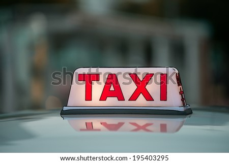 Red Taxi Sign. Illustration - stock photo