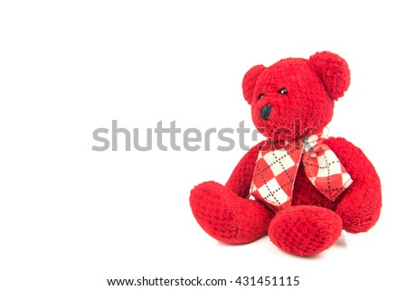 Red teddy bears on a white background. - stock photo