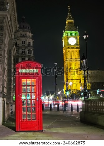 Red telephone box and Big Ben in London. - stock photo