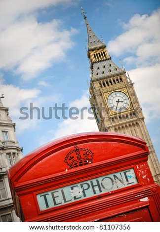 Red telephone box and Big Ben in London, UK - stock photo