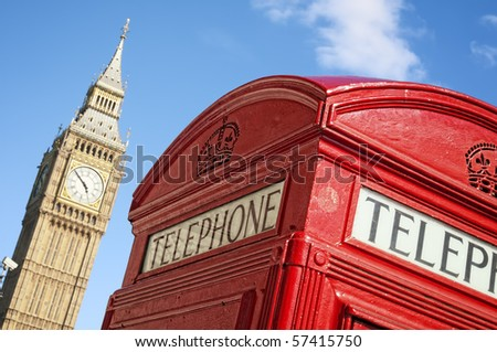 Red Telephone box and Big Ben, London. - stock photo