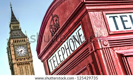 Red telephone box and Big Ben, London, UK - stock photo
