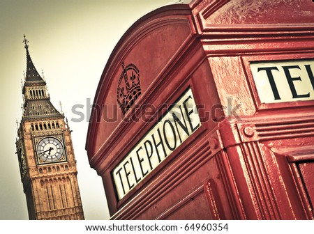 Red telephone box and Big Ben, London, UK