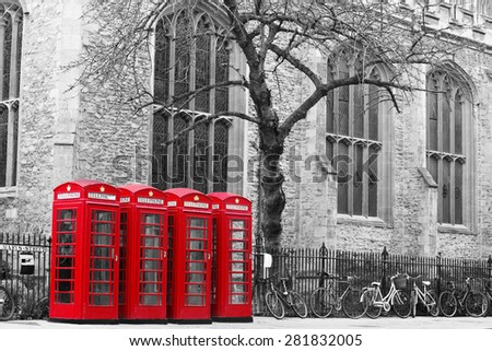 Red Telephone Box, black and white image - stock photo
