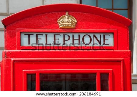 Red telephone box in London. England, UK - stock photo