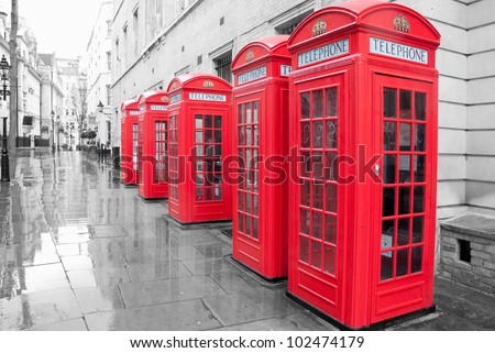 Red telephone boxes - stock photo