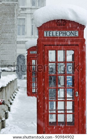Red telephone boxes in London - stock photo