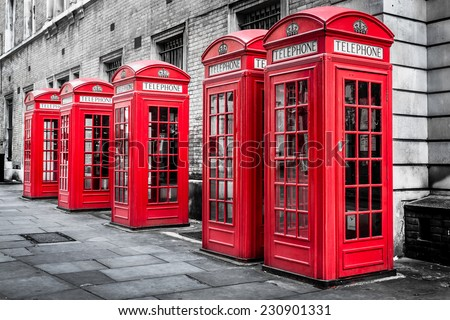 Red Telephone Boxes, Westminster, London, England - stock photo