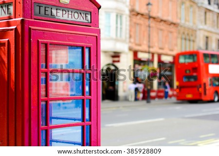 Red telephone cabin in London - stock photo