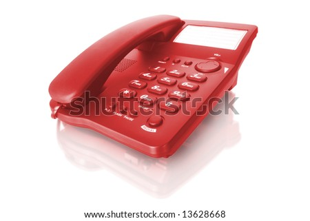 red telephone isolated on white with reflection