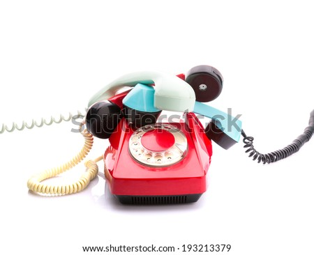 Red telephone on white - stock photo