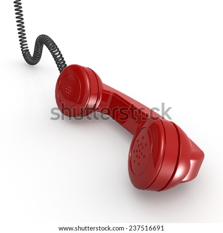 Red telephone receiver - stock photo