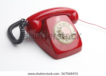 red telephone vintage - stock photo