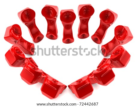 Red telephones in love. 3D render concept - stock photo