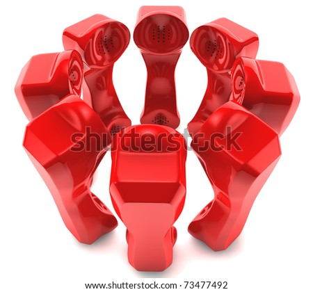 Red Telephones together talking in a team - stock photo