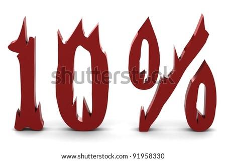 Red ten percent - stock photo
