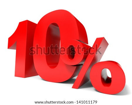 Red ten percent off. Discount 10%. 3D illustration. - stock photo