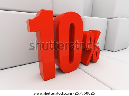 Red ten percent off. Discount 10. 3D illustration - stock photo